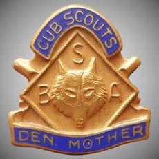 Den Mother Cub Scouts Pin Vintage Enamel Boy Scouts America