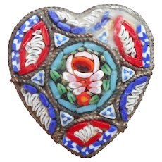 Mosaic Heart Shaped Italy Vintage Pin TLC