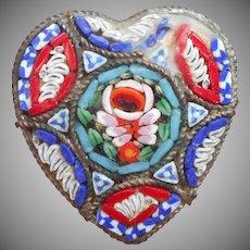 Mosaic Heart Shaped Italy Vintage Pin TLC