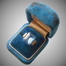 1940s Sterling Silver Ring Faux Blue Topaz Vintage 5.5