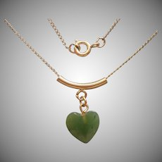 Jade Heart Gold Filled Vintage 1970s Necklace Dainty Delicate