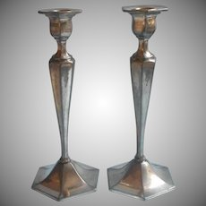 Monogram C Antique Tall Silver Plated Candlesticks Shabby Handsome