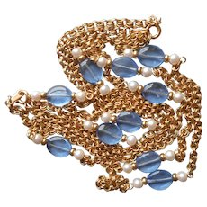 Vintage Set Necklace Blue Glass Beads Faux Pearls Chain Avon
