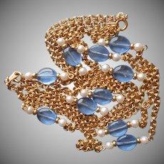 Vintage Set Necklace Blue Glass Beads Faux Pearls Chain Avon
