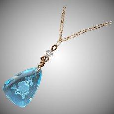 1920s Necklace Celeste Blue Intaglio Glass Pendant Vintage Paper Clip Chain