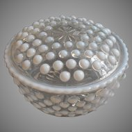 Moonstone Anchor Hocking Powder Box Vanity Opalescent Hobnail Vintage