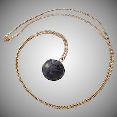 Neodymium Glass Pendant Necklace Vintage Gold Filled Faceted Ball