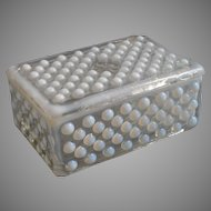 Moonstone Anchor Hocking Cigarette Box Vanity Opalescent Hobnail Vintage