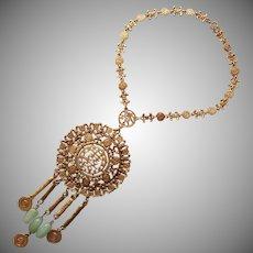 Goldette Massive Chinoiserie Necklace Vintage Asian Motifs Faux Jade