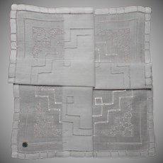 Vintage Hankie Unused Linen Pulled Thread Work