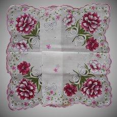 Vintage Unused Hankie Pink Carnations Print A Bit TLC