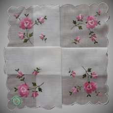 Vintage Hankie Unused Desco Embroidered Pink Roses Original Label