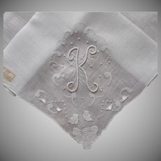 Monogram K Madeira Hankie Unused Vintage Label Linen Hand Embroidery