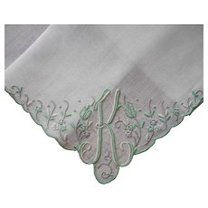 Monogram K Madeira Hankie Unused Vintage Label Linen Hand Embroidery