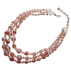 Glass Beads 3 Strand Necklace Peach Pink Vintage West Germany