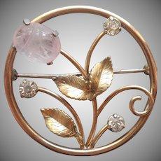 Scarab Rose Quartz Krementz Vintage Pin