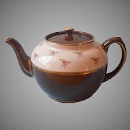 Sadler Teapot England Brown Betty Pink Band Roses Vintage