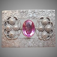 Sash Pin Antique Pink Glass Stone Silver Tone Metal