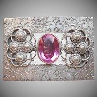 Sash Pin Antique Pink Glass Stone Silver Tone Metal