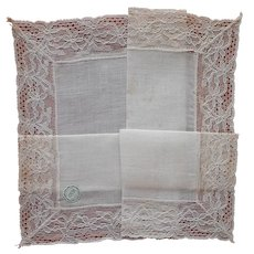 Linen Lace Hankie Vintage Unused Desco Label Handkerchief