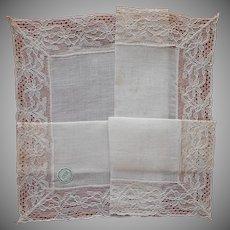 Linen Lace Hankie Vintage Unused Desco Label Handkerchief