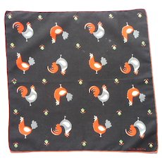 Faith Austin Chicken Print Vintage 1950s Cotton Hankie Handkerchief