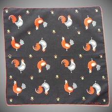Faith Austin Chicken Print Vintage 1950s Cotton Hankie Handkerchief