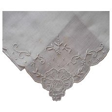 Unused Madeira Hankie Vintage Hand Embroidery Label All White
