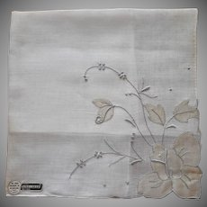 Unused Madeira Hankie Vintage Appliqued Taupe Rose Label