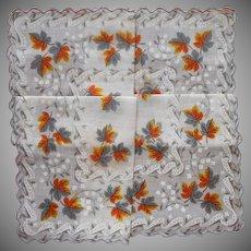 Vintage Hankie Unused Printed Cotton Leaves Print Gray Orange White