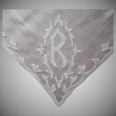 Monogram R Vintage Hankie Hand Appliqued Finest Cotton