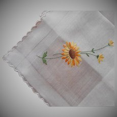 Unused Hand Embroidered Black Eyed Susan Vintage Hankie Oversized