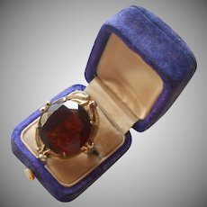 Whiting And Davis Vintage Ring Big Faux Brown Topaz Glass