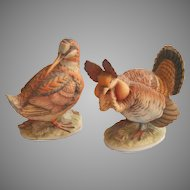 Lefton Pinnated Grouse Woodcock Bisque Figurines Vintage Hand Painted Game Birds