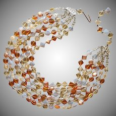 1950s Glass Beads Necklace Amber Honey Opalescent 6 Strand Vintage