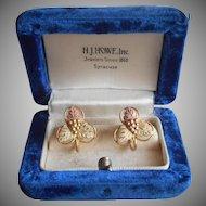 12k Black Hills Gold Earrings Gold Filled Screw Back Vintage