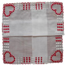Valentine's Day Vintage Hankie Unused Red White Hearts Embroidery