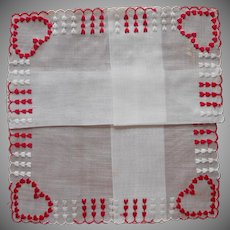 Valentine's Day Vintage Hankie Unused Red White Hearts Embroidery