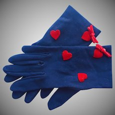 Vintage Gloves Red Hearts Navy Blue Shortie Size S Small