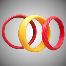 Vintage 1970s Plastic Bangle Bracelets Red Yellow