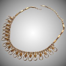 Vintage Sarah Coventry ca 1960 Choker Necklace Rhinestone Loops