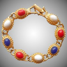 Vintage Patriotic Colors Bracelet Red White Blue Gold Tone