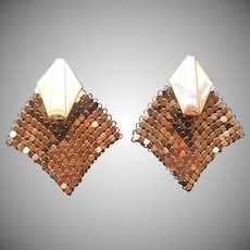Vintage Mesh Earrings Clip Gold Tone Finish