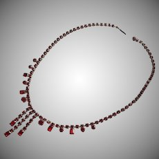 Red Rhinestones Choker Necklace Vintage 1950s
