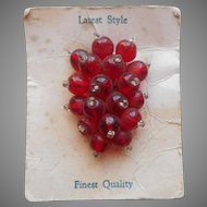 Dress Clip Vintage Red Glass Beads Cluster Original Card