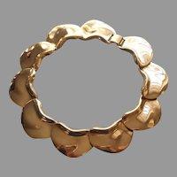 1980s to 1990s Big Kidney Panel Potato Chip Links Necklace Vintage