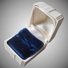 1950s Ring Box Vintage Hard Plastic White Satin Blue Velvet Lining