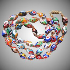 1950s Millefiore Glass Beads Vintage Necklace Venetian Murano Oval Knotted