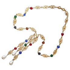 1980s Long Necklace Gold Tone Red Green Blue Glass Faux Pearls Vintage