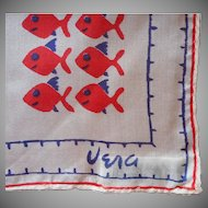 Vera Silk Neckerchief Scarf Vintage Silk Fish Print Acetate Sea Shell Sequins